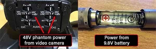 Battery and phantom condenser mic power