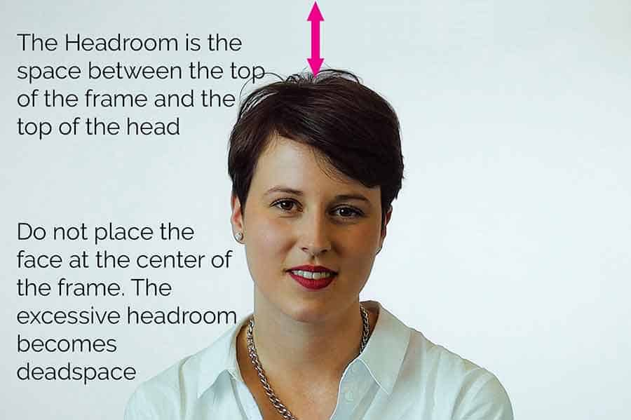 Putting the face at the center of the frame can lead to the headroom becoming too great and effectively being dead-space