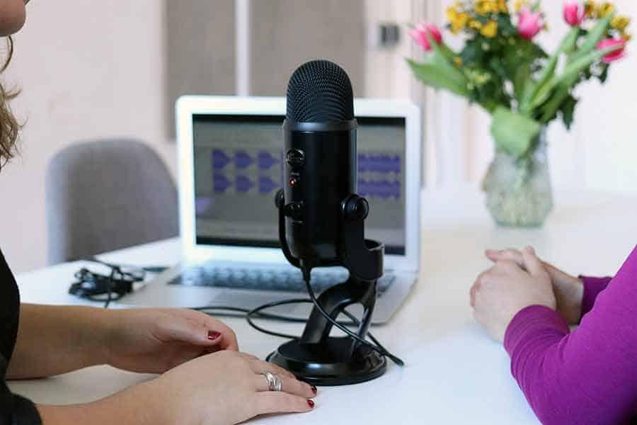 Blue Yeti USB microphone on desk
