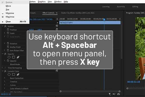 How-to-fix-Premiere-Pro-Missing-Min-Max-and-Close-Buttons using Alt_Spacebar keyboard shortcut